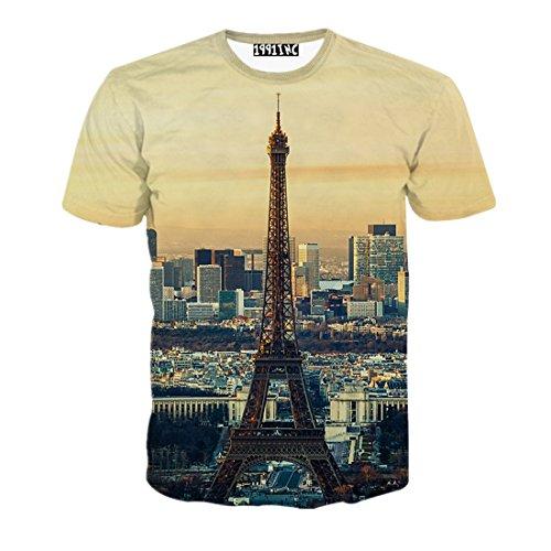 FaPlus Men's Fashion Eiffel Tower Dusk 3D Print T-Shirts M Dusk Eiffel Tower