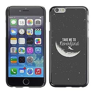 Paccase / SLIM PC / Aliminium Casa Carcasa Funda Case Cover para - Take Me To The Moon Grey Black Night Cosmos - Apple Iphone 6