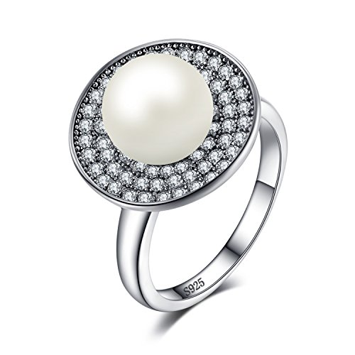 - JewelryPalace Luxury 7mm Freshwater Cultured White Pearl Halo Ring 925 Sterling Silver Size 7