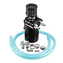 Ruien Polish Baffled Universal Aluminum Oil Catch Can Reservoir Tank 400ml with Breather Filter