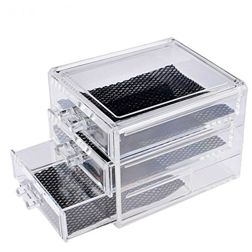 Xena Acrylic 3 Drawer Jewelry Box 6 x 4.5 x 5 Inch Bathroom Counter Organizer Makeup - Three Drawer Acrylic Organizer