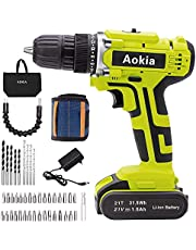 Aokia Power Drill Drivers Cordless impact set: 21V Electric Screwdriver Tools&Home Improvement bits 2 Variable Speed 3/8 Keyless Chuck 21 Volt lithium Magnetic Wristband