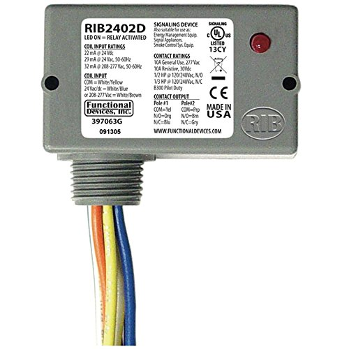 (Functional Devices RIB2402D Enclosed Pilot Relay, 10 Amp Dpdt with 24 Vac/Dc/208-277 Vac Coil)