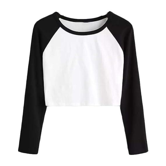 DEELIN OtoñO De La Mujer Casual De Manga Larga De Color SóLido Patchwork Estiramiento Corto Camisa Camiseta: Amazon.es: Ropa y accesorios