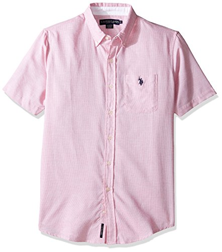 [U.S. Polo Assn. Men's Classic Fit Single Pocket Stripe, Plaid Or Print Sport Shirt, 9720-Celebrity Pink, XL] (Pink Stripe Shirt)