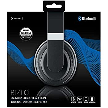 Sentry Premium Stereo Folding Wireless Headphones with In-Line Mic, BT400