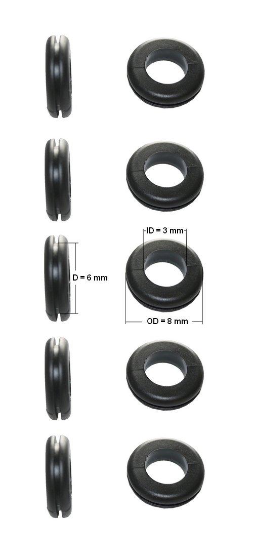 Durchgangstü llen Kabeldurchfü hrung Kabeldurchlass 6mm schwarz 10 Stü ck (0152) B2Q