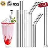 Stainless Steel Straws, Reusable Full Variety Drinking Metal Straws For 20oz 30oz 40oz Yeti Tumbler, RTIC, Ozark Starbucks, Mason Jar, Set of 9 with 2 Cleaning Brush FDA Approved and BPA Free