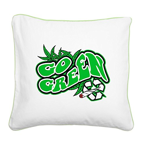 Square Canvas Throw Pillow Key Lime Marijuana Go Green 420 Dispensary
