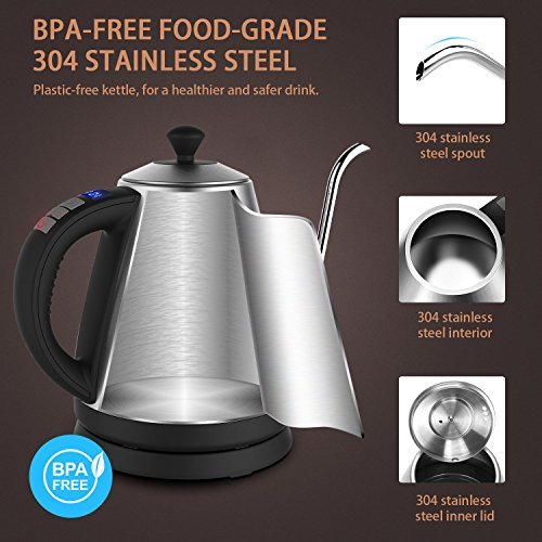 Electric Kettle with Variable Temperature, 1.2L Gooseneck Pour-Over Kettle for Drip Coffee and Tea, BPA-Free 304 Stainless Steel Kettle with LCD Display and Keep Warm Function Kettle, 1000W by Doctor Hetzner (Image #3)