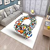 Letter Q Floor Mat for Kids Typographic Letter Font Design with Various Gaming Balls Athletic Kids Teamplay Bath Mat Non Slip Multicolor