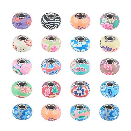 Pandahall 100 Pcs Polymer Clay Flower European Beads, Platinum Color Brass Core, Mixed Color, About 15~16mm in Diameter, 10~11.5mm Thick, Hole: 5mm
