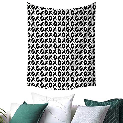 Anshesix Xo Decor Tapestry for Bedroom Expressing Love Affection Good Friendship Text Message Modern Communication Theme Picnic/Beach Blanket/Throw/Sheet 40W x 60L INCH Black - Blanket The Xo Weeknd