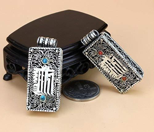 (Thick Tibetan Turquoise Carved Kalachakra Holy Mantra Ghau Prayer Box Pendant)
