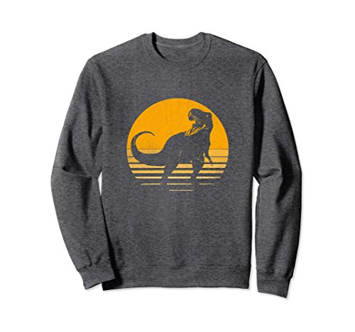 Unisex Awesome Retro Dinosaur Yellow Sunrise Non Hooded Sweatshirt Medium Dark Heather