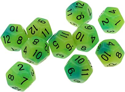 B Blesiya 10x Dados de 12 Caras 18 mm para Juegos de Mesa Enseñanza de Matemáticas - Verde + Azul: Amazon.es: Juguetes y juegos