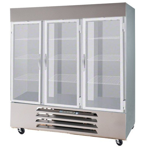 Beverage-Air FB72-5G 75'' Vista Series Three Section Glass Door Reach-In Freezer 72 cu.ft. Capacity Stainless Steel Front Robust Gray Painted Exterior Sides Aluminum Interior with B
