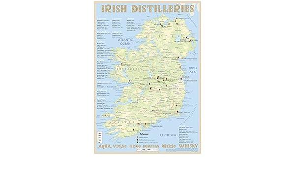 Map Of Ireland 600 Ad.Irish Distilleries Tasting Map 34 X 24cm 9783944148137 Amazon Com