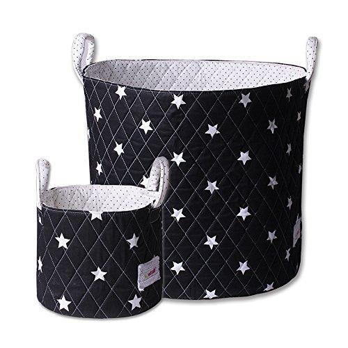 Minene Large & SMall Fabric Storage Basket Set , Organiser, Nursery, Kids,Star Storage Black&WHite Stars by Minene by Minene