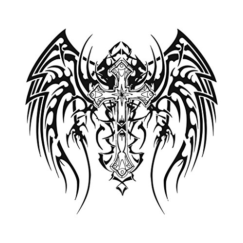 Gothic-Winged-Cross-Temporary-Tattoo