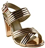 Shine 82 Womens Strappy Metallic Chunky Heel Peep Toe Crossed Sandals Rose Gold 8.5