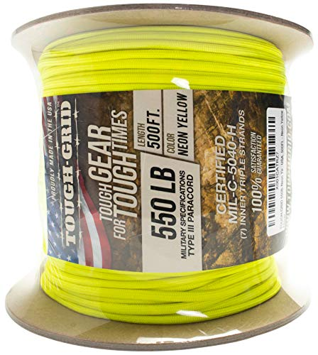 TOUGH-GRID 550lb Neon Yellow Paracord/Parachute Cord - 100% Nylon Genuine Mil-Spec Type III Paracord Used by The US Military - Great for Bracelets & Lanyards - Made in The USA. 500Ft. - Neon Yellow