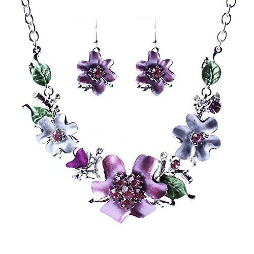 Leegoal Women Plated Oil Drip Rhinestone Flower Bib Necklace Earring Sets