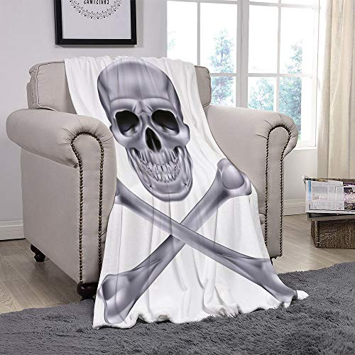 SCOCICI Super Soft Throw Blanket/Silver,Vivid Skull and Crossbones Dangerous Scary Dead Skeleton Evil Face Halloween Theme Decorative,Dimgray/for Couch Bed Sofa for Adults Teen Girls Boys ()