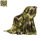 Camo Custom Design Cozy Flannel Blanket Eagle Silhouettes Flying Open Wings Falcon Hawk Armed Forces Theme Digital Printing Blanket 80'x60' Army Green Dark Brown Cream