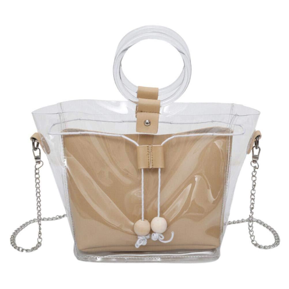 Bolayu Fashion Women Shoulder Bag Clear Transparent Drawstring Girls Composite Bag Handbags (Khaki)