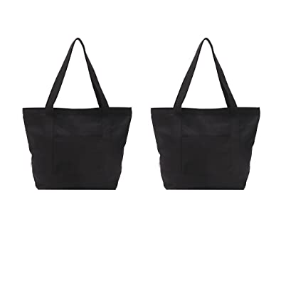 Amazon.com  Augbunny Heavy Duty 100% Cotton Canvas Zipper Beach Shoulder  Grocery Tote Bag With Outer Pocket 2-pack  Shoes 007bc0b7a4353