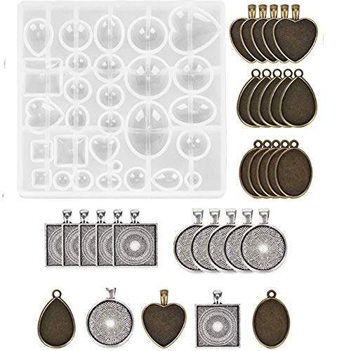 (Ginooars Pack of 30 Pieces 5 Styles 2 Colors Pendant Trays- Round/Square/Heart/Teardrop/Oval,and 1 Pcs Silicone Resin Jewelry Casting Molds for DIY Jewelry Making)