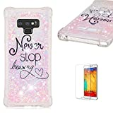 Funyye Liquid Glitter Case for Samsung Galaxy Note 9,Luxury Sparkly Floating Water Liquid Transparent Silicone TPU Case for Samsung Galaxy Note 9,Ultra Thin Crystal Rubber Durable Shell Bumper Back Protective Case for Samsung Galaxy Note 9 + 1 x Free Screen Protector,Never Stop Dreaming