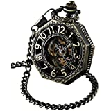 ShoppeWatch Skeleton Pocket Watch with Chain Bronze Octagon Case Steampunk Costume Railroad Style Mechanical Movement Hand Wind Up Reloj PW-221
