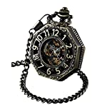 ShoppeWatch Skeleton Pocket Watch with Chain Bronze Octagon Case Steampunk Costume Railroad Style Mechanical Movement… 6