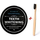 Teeth Whitening Charcoal Powder, Natural Activated Charcoal Teeth Whitener Powder + Bamboo Brush Oral Care Set (1.05 oz) (Pack 1 With 1 Toothbrush)