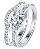 Product review for BORUO 925 Sterling Silver Ring, Cubic Zirconia CZ 2pc Wedding Band Stackable Ring Set 4mm Size 4-12