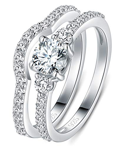 - BORUO 925 Sterling Silver Ring, Cubic Zirconia CZ 2pc Wedding Band Stackable Ring Set 4mm Size 9