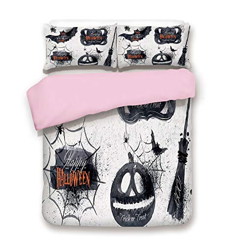 Pink Duvet Cover Set,Twin Size,Halloween Symbols Happy Holiday Witch Lives Here Broomstick Spider Web Decorative,Decorative 3 Piece Bedding Set with 2 Pillow Sham,Best Gift For Girls Women,Black -