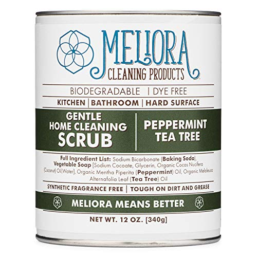 (Meliora Cleaning Products Gentle Home Cleaning Scrub - Scouring Cleanser for Kitchen, Tube, and Tile, 12 oz. (Peppermint Tea Tree))