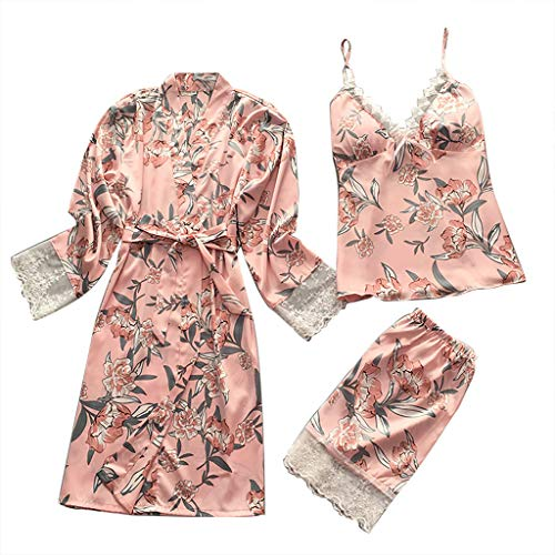 YOcheerful Women Lingeries Sexy Satin Fashion Print Lace Pajamas Sleepwear Sling Robe Long Sleeve Set Loose Robes(X-Pink, L)