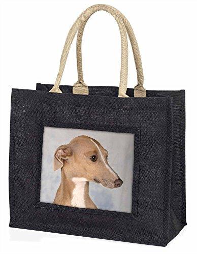 Advanta–Große Einkaufstasche Windhund Hund Große Einkaufstasche Weihnachtsgeschenk Idee, Jute, schwarz, 42x 34,5x 2cm