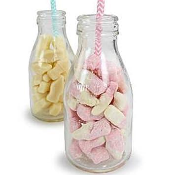 Botellas de leche de la escuela de vidrio - tarros dulces