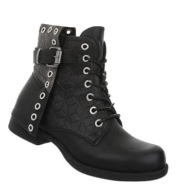 Damen Stiefeletten Schnürstiefel Schuhe Flache Boots E29HID