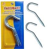 2 x Screw Hook Nails Large S Heavy Duty Wall Fixing Hanging Steel Thread Screws 100mm