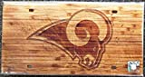 Los Angeles Rams NEW LOGO Woodgrain Design Deluxe Laser Cut Acrylic Inlaid License Plate Tag Football