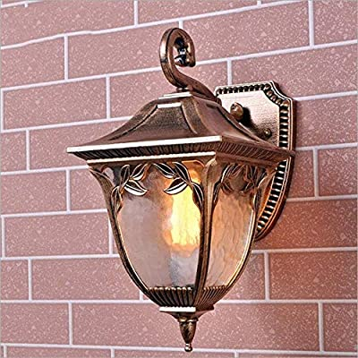 XHJJDJ Classic Brass Color Rustic Waterproof Traditional Outdoor Wall Light Hallway Winter Garden Balcony Porch Wall Lamp Wall Sconce Glass Lantern E27 Light Source