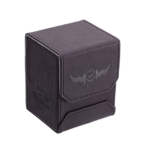 Zoopin Leather Deck Box-Black for Collectible Cards-MTG,Yugioh,Pokeman,TES Legacy,Munchkins CCG Decks and Also Small Tokens or Dice- Hold 80 Sleeved Cards or 150 Naked Cards