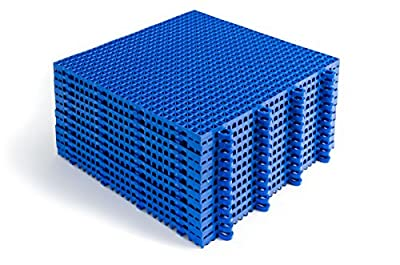 DuraGrid CR24ROYB Cross-Rib Design, Interlocking Modular Self-Draining Multi-Use Safety Floor Matting, 24 Pack, Royal Blue, Piece