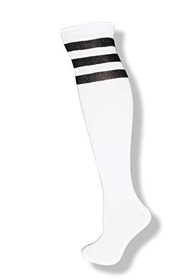b7ae9e79f NeonNation Unisex White Knee High Team Tube Socks w Three Various Colored  Stripes (White